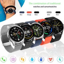 "Unisex IP68 Smart Watch Sova Kondition Tracker 230mAh 1,28 "" Silver Stål"