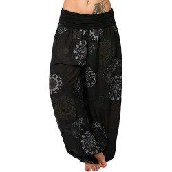 Damblommig Baggy Harem Harem Byxor Boho Yoga Svart XL