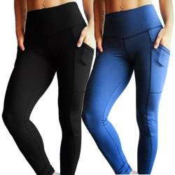 Svarta och blå leggings med 2 fickor Black M