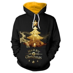 Santa 3D Golden Merry Christmas Hoodies Black XXL