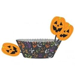 Halloween, Muffinsformar med partypicks, pumpkin