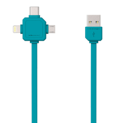 USB Multi-laddkabel till Lightning, USB-Micro, USB-C 1,5m TURKOS turkos 150 cm
