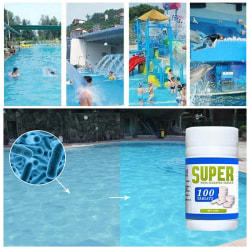 100X poolrengöringstabletter för hemrengöring H one size