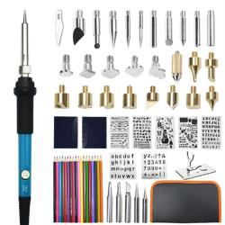 110V 220V 60W Wood Burning Pen Set Stencil Lödning Tips Verktyg EU-Solder