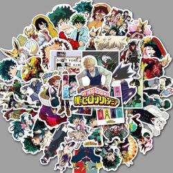 50st My Boku No Hero Academia Skateboard Anime Stickers Laptop One Size