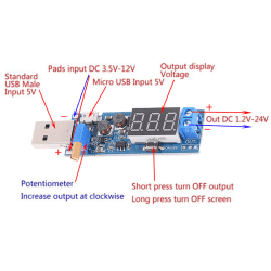 DC-DC USB steg upp / ner strömförsörjningsmodul boost converter 5V t onesize
