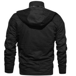 Hooded Polyester Vanligt långärmad blixtlås Blazers för män ArmyGreen M