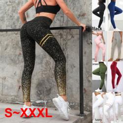 Kvinnor Sequin Workout Legging Sport Yoga Pants Blue S