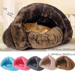 Pet Cat Dog House Kennel Puppy Sleeping Bed Soft Pad Warm Nest Brown S