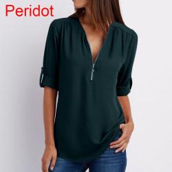 Plusstorlek Chiffongskjorta med V-ringad blus
