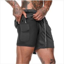 Träningsshorts med dold ficka för mobil Black XL