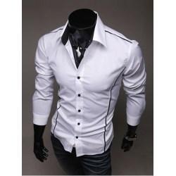 Vändbar krage Polyester Patchwork herrskjorta White L