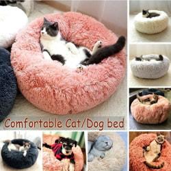 Winter Warm Round Plush Cat Dog Bed House Brown 70cm