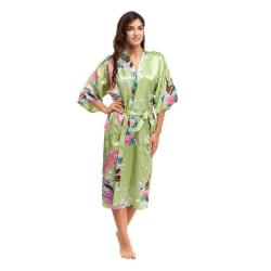 Soft Silk Kimono Robe Dressing Dress Green OneSize