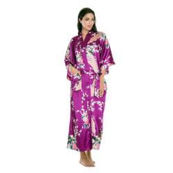 Soft Silk Kimono Robe Dressing Dress Fuchsia OneSize