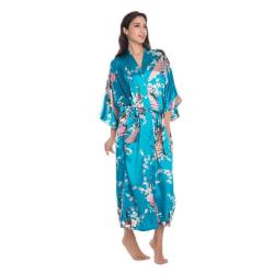 Soft Silk Kimono Robe Dressing Dress LakeBlue OneSize