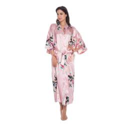 Soft Silk Kimono Robe Dressing Dress Pink OneSize