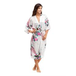 Soft Silk Kimono Robe Dressing Dress White OneSize