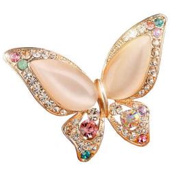 1 * Opal strass brosch för bröllop fjäril brosch för kvinnor Colorful