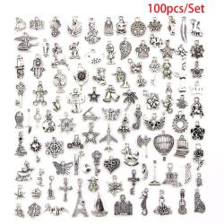 100st Bulk Lots Tibetansk Silver Mix Hängen Charms Craft Jewel Silver