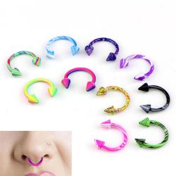 10st rostfritt stål Horseshoe Bar Lip Nose Septum Ear Ring St. Multicolor