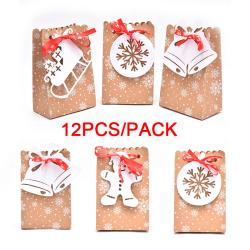 12st julkraftpapperspåsar Candy Cookie Packaging Box Xma 12Pcs
