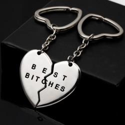 1PAR BÄSTA TYPOR Nyckelringar Nyckelringar Nyckelringar för brustet hjärta för Silver 0