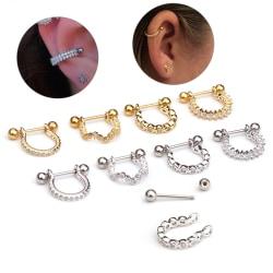 1Pc Crystal Rhinestone U Shape Ear Helix Brosk Body Piercin Gold:D