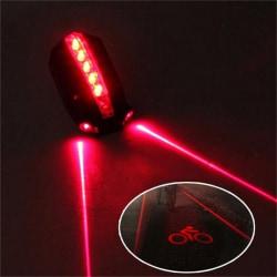 2 Laser + 5 LED-blinkande bakcykel Baklykta Lampa Beam S