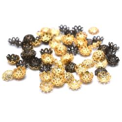 200st / Set Flower BeadCap End Pärlor Caps Floral Metal Filigree Gold