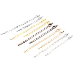 20st / parti smycken hummerlås förlängningskedjor DIY halsband J Silver 7cm