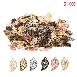 210PCS Antika ihåliga filigranblad Charms Hängsmycken DIY Smycken Multicolor