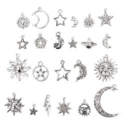 23st / Set Mixad Silver Star Moon Sun Charms Hängsmycke DIY Craft J