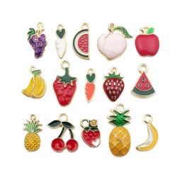 30PCS Emalj Ananas Frukt Charms Hängsmycke DIY Smycken Att Göra Multicolor