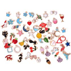 30PCS / Set Emalj Animal Moon Star Fruit Charms Hängsmycke DIY Craf Set 1