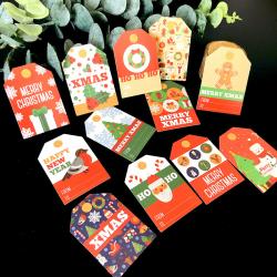 48ST God jul DIY Kraft Taggar Etiketter Presentförpackningspapper B 48pcs+rope