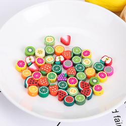 50st Fruktbåge Blomma Polymer Clay Pärlor DIY Handgjorda Smycken C