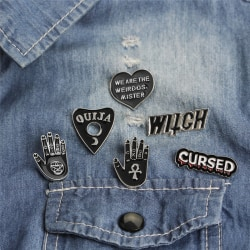 6PCS / Set Punk Emalj Brosch Pin Presentskjorta Krage Revers Corsage Black