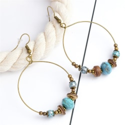Bohemian Hoop Örhängen Pärlor Drop Dangle Earrings Women Ear Stu Gold