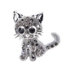 Söt liten kattbroscher Pin Antique Silver Plated Coat Shirt C Silver One Size