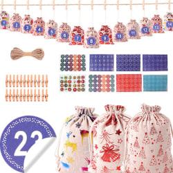 Dekorativ hängande väska jul bomullslinne väska Set Xmas present C