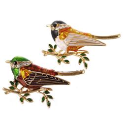Emalj Bird Brooch Pin Crystal Rhinestone Animal Brooch Pin Clo Multicolor