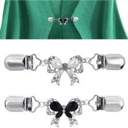 Fashion Bow Cardigan Tröja Blus Pin Shawl Brosch Clips Duck White