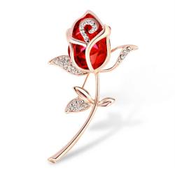 Mode brosch smycken Crystal Rhinestone Roses Brosch Pin Eleg Red 5.8*3.8CM