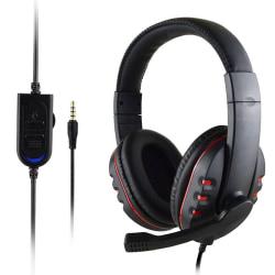 Gamingheadset Stereo Surround-hörlurar 3,5 mm trådbunden mikrofon för PS