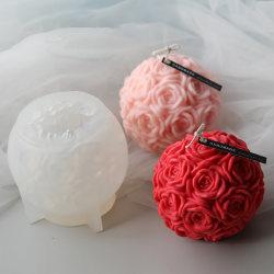 Enorm blomma boll 3D rosformad silikon dekorativ tvål ljus one size