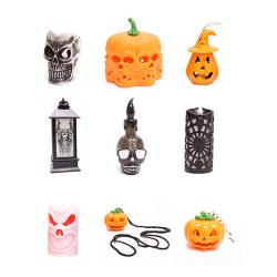 LED-ljus dekorativ Halloween pumpa ljus flimrande flamma
