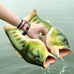 Unisex Creative Fish Shower Tofflor Roliga strandskor sandaler Green 46-47