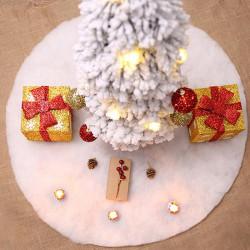 Vit plysch julgran kjol matta god jul dekor N one size