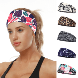 Wide Sport Sweat Sweatband Headband Yoga Gym Stretch Hair Band E